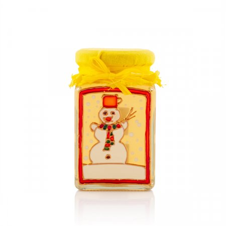 Hand painted glass of honey snowman
