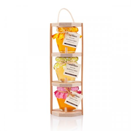 Wooden stand honey set